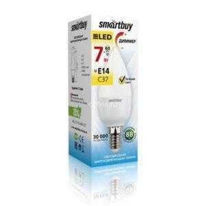 Светодиодная (Диммер) Лампа Smartbuy-C37-07W/3000/E14