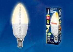 Лампа светодиодная LED-C37-6W/WW/E14/FR/DIM PLP01WH картон