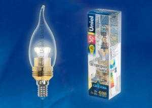 Лампа светодиодная LED-CW37P-5W/WW/E14/CL ALC02GD пластик