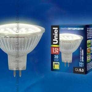 Лампа светодиодная LED-MR16-SMD-1,5W/WW/GU5.3 95 Lm Картон