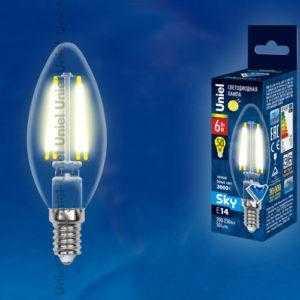 Лампа светодиодная LED-C35-6W/WW/E14/CL PLS02WH картон