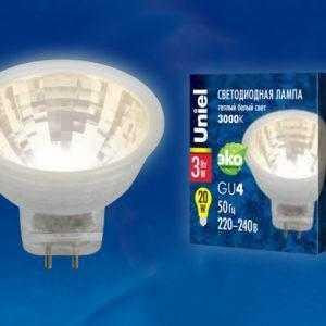 Лампа светодиодная LED-MR11-3W/WW/GU4/220V GLZ21TR