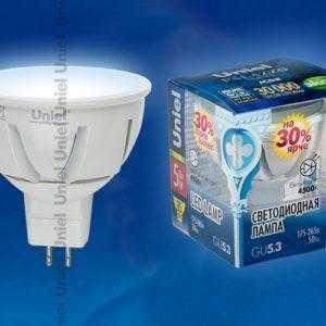 Лампа светодиодная LED-JCDR-5W/NW/GU5.3/FR ALP01WH пластик