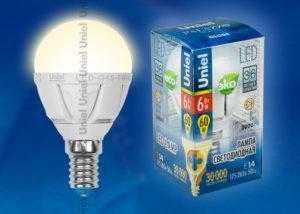 Лампа светодиодная LED-G45-6W/WW/E14/FR ALP01WH пластик