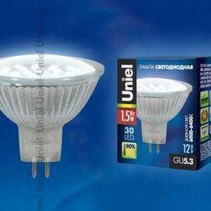 Лампа светодиодная LED-MR16-SMD-1,5W/DW/GU5.3 105 Lm Картон