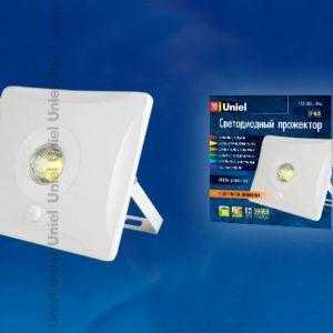 Прожектор светодиодный с датчиком движения ULF-F31-10W/DW SENSOR IP65 100-265В WHITE картон