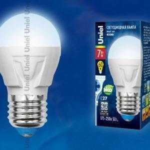 Лампа светодиодная LED-G45-7W/NW/E27/FR PLP01WH картон