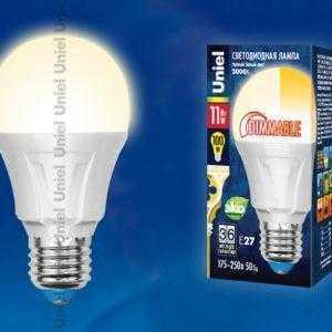 Лампа светодиодная LED-A60-11W/WW/E27/FR/DIM PLP01WH картон