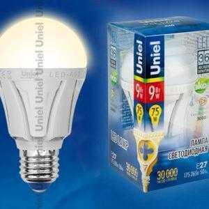 Лампа светодиодная LED-A60-9W/WW/E27/FR ALP01WH пластик
