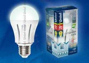 Лампа светодиодная LED-A60-9W/NW/E27/FR ALM01WH пластик