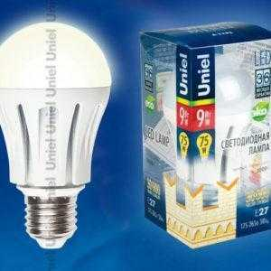 Лампа светодиоднаяLED-A60-9W/WW/E27/FR ALM01WH пластик