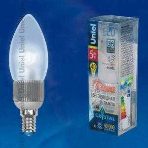 Лампа светодиодная LED-C37P-5W/NW/E14/FR/DIM ALC03SL пластик