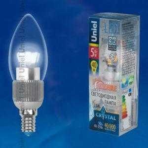 Лампа светодиодная LED-C37P-5W/NW/E14/CL/DIM ALC03SL пластик