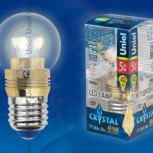 Лампа светодиодная пятилепестковая LED-G45P-5W/WW/E27/CL ALC02GD пластик
