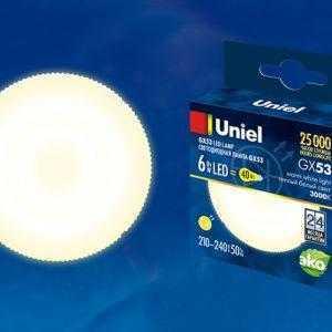 Лампа светодиодная LED-GX53-6W/WW/GX53/FR PLZ01WH