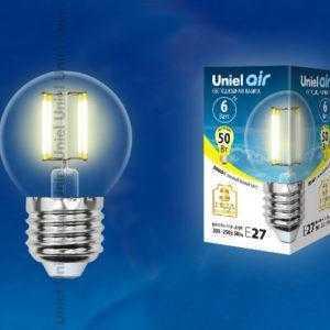 Лампа светодиодная LED-G45-6W/WW/E27/CL GLA01TR картон