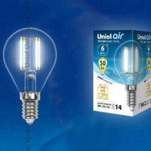 Лампа светодиодная LED-G45-6W/NW/E14/CL GLA01TR картон