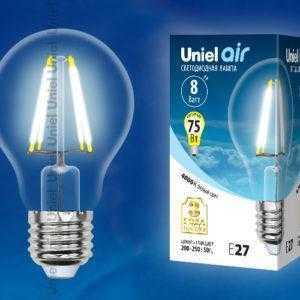 Лампа светодиодная  LED-A60-8W/NW/E27/CL GLA01TR картон