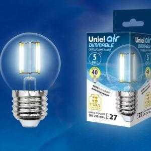 Лампа светодиодная LED-G45-5W/NW/E27/CL/DIM GLA01TR картон
