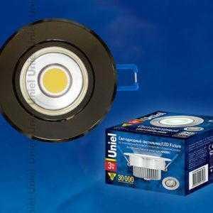Светильник светодиодный встраиваемый поворотный ULM-R31-3W/NW IP20 BLACK CHROME картон