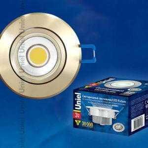 Светильник светодиодный встраиваемый поворотный ULM-R31-3W/NW IP20 GOLD картон