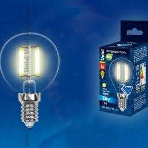 Лампа светодиодная LED-G45-6W/WW/E14/CL PLS02WH картон