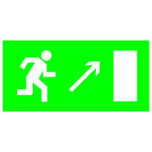 """Знак """"Направление к эвакуационному выходу направо вверх"""" 200х100мм TDM"""