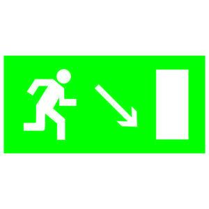 """Знак """"Направление к эвакуационному выходу направо вниз"""" 200х100мм TDM"""