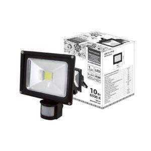 Прожектор светодиодный СДО10-2-Н-Д (с датчиком) 10Вт, 6500К, черный, Народный