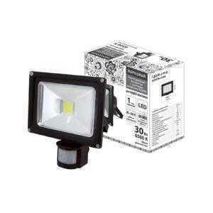 Прожектор светодиодный СДО30-2-Н-Д (с датчиком) 30Вт, 6500К, черный, Народный