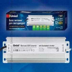 Блок питания для светодиодов с защитой от короткого замыкания и перегрузок, алюминиевый корпус UET-VAJ-060A67 12V IP67