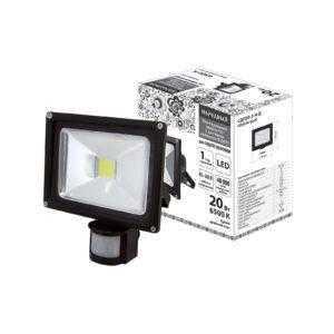 Прожектор светодиодный СДО20-2-Н-Д (с датчиком) 20Вт, 6500К, черный, Народный