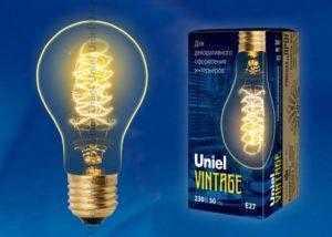 IL-V-A60-40/GOLDEN/E27 CW01 Лампа накаливания Vintage. Форма «A». Форма нити CW. ТМ Uniel