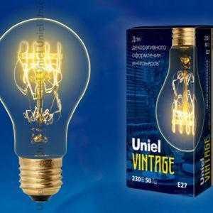 IL-V-A60-60/GOLDEN/E27 SW01 Лампа накаливания Vintage. Форма «A». Форма нити SW. ТМ Uniel