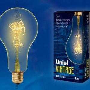 IL-V-A95-60/GOLDEN/E27 SW01 Лампа накаливания Vintage. Форма «A». Форма нити SW. ТМ Uniel