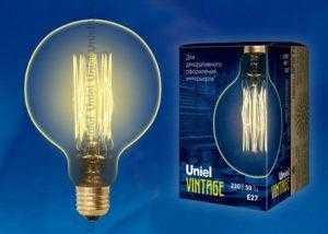 IL-V-G125-60/GOLDEN/E27 VW01 Лампа накаливания Vintage. Форма «шар». Форма нити VW. ТМ Uniel