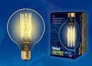 IL-V-G80-60/GOLDEN/E27 VW01 Лампа накаливания Vintage. Форма «шар». Форма нити VW. ТМ Uniel