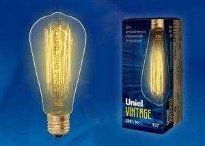 IL-V-ST64-60/GOLDEN/E27 VW02 Лампа накаливания Vintage. Форма «конус». Форма нити VW. ТМ Uniel