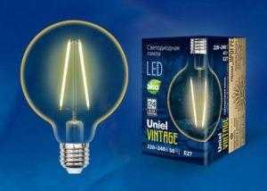 LED-G80-4W/GOLDEN/E27 GLV21GO Лампа светодиодная Vintage. Форма «шар»