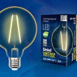 LED-G95-4W/GOLDEN/E27 GLV21GO Лампа светодиодная Vintage. Форма «Шар»