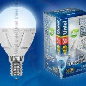 LED-G45-6W/NW/E14/FR ALP01WH пластик