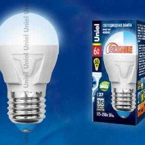 LED-G45-6W/NW/E27/FR/DIM PLP01WH картон