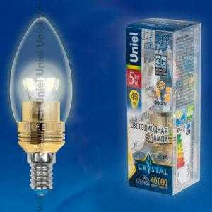 LED-C37P-5W/WW/E14/CL ALC02GD пластик
