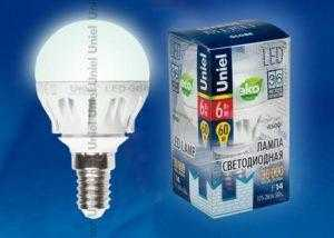 LED-G45-6W/NW/E14/FR ALM01WH пластик
