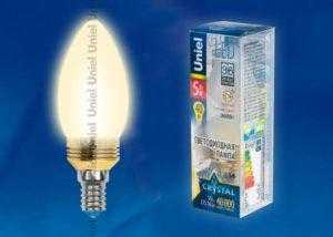 LED-C37P-5W/WW/E14/FR ALC02GD пластик