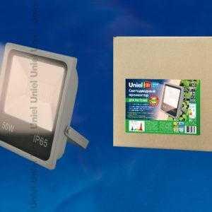 ULF-P40-50W/SPFR IP65 110-265В GREY Прожектор для растений светодиодный. Спектр для фотосинтеза. Цвет серый. TM Uniel.
