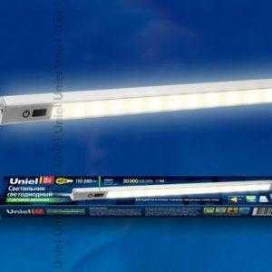 ULM-F03-8W/WW/MS IP40 SILVER Светодиодный светильник с датчиком движения. Длина 35 см. Теплый белый свет.