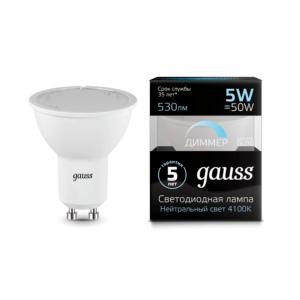 101506205 d 300x300 - Лампа Gauss LED MR16 GU10-dim 5W 4100K диммируемая