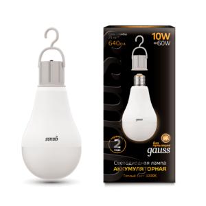 102402100 300x300 - Лампа Gauss LED A60 10W E27 640lm 3000K с Li-Ion аккумулятором 1/10/60