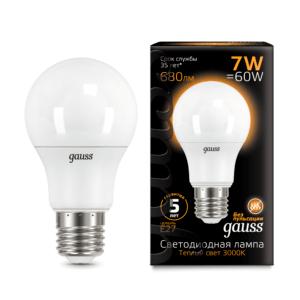 102502107 300x300 - Лампа Gauss LED A60 E27 7W 2700K